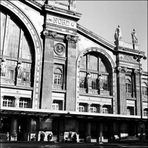 Front of Gare du Nord Paris black and white photograph