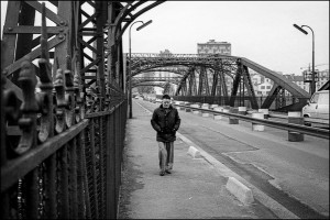 Paris Man on the Pont de Tolbiac Black and White Photograph