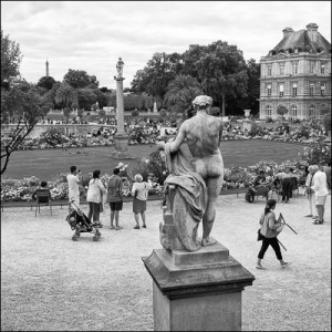 Black and White photograph of Jardin du Luxembourg Paris