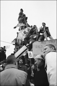 Demonstration Place de La Nation 2002 black and white photograph