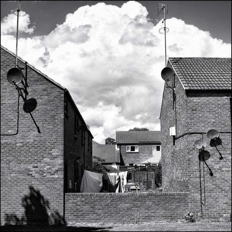black and White Photograph of Council Houses in Alnwick UK