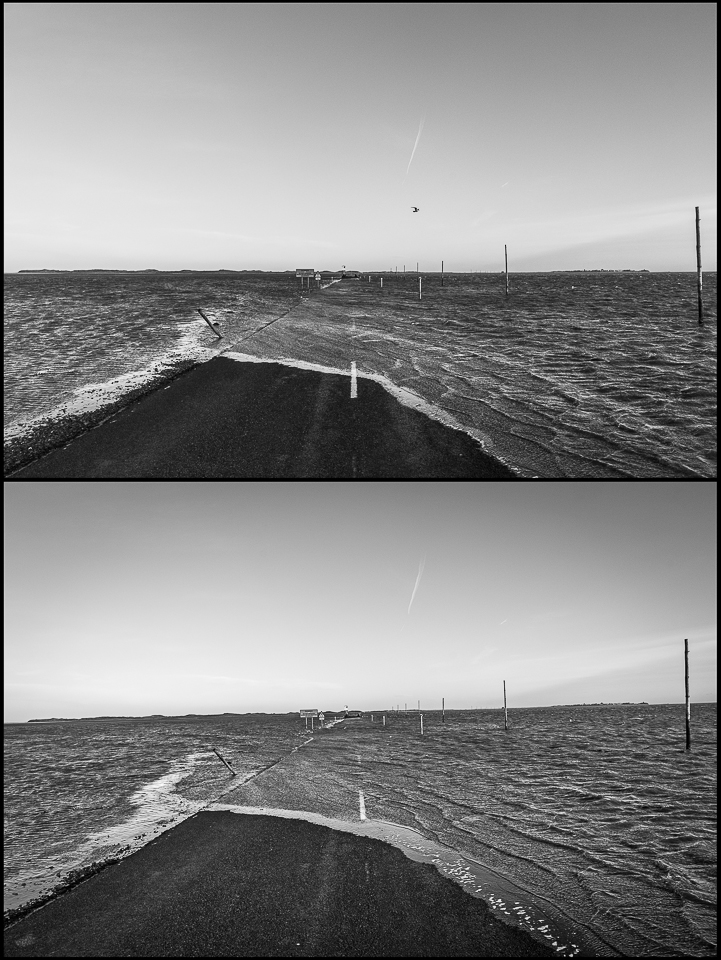 time lapse:two black and white photos of the tide coming in at Holy Island
