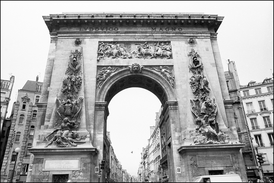 Porte St Denis Paris  black and white photograph
