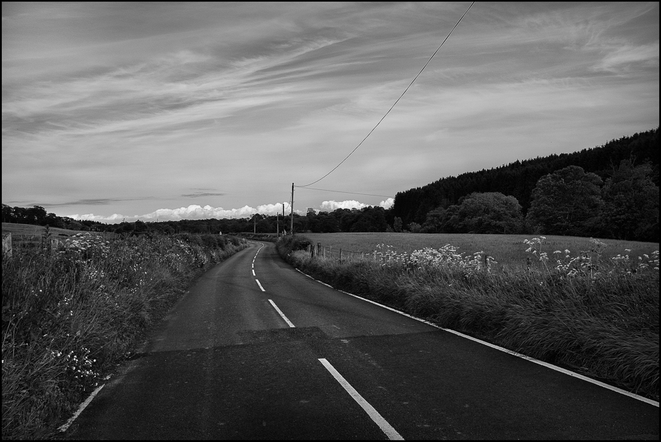 black and white photograph of a northumberland uk road