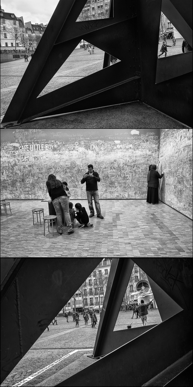 Beaubourg Triptych Paris Black and White Photography