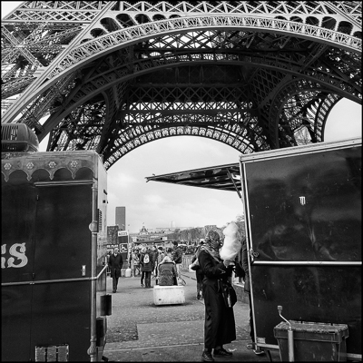 Candy floss at the Eiffel Tower black and white photograph