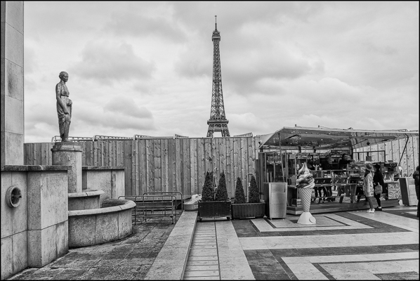 Trocadéro Ice Cream eiffel Tower Black and White Photograph